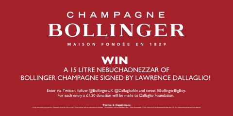 The @dallaglio8 #BollingerBigBoy is back! To WIN simply RT & follow & we will make a donation to the @dallagliofdn http://t.co/NudcGheFml