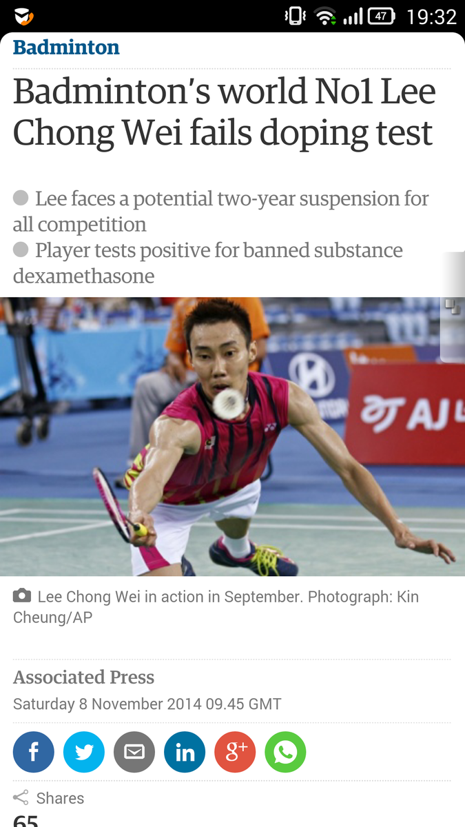 Malaysians are united behind Lee Chong Wei. He has never opted for a short cut in his career. NEVER! @guardian_sport http://t.co/0LaDMkDyB0