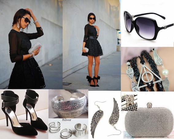 Modalitik On Twitter Black Lace Dress Silver Accessories