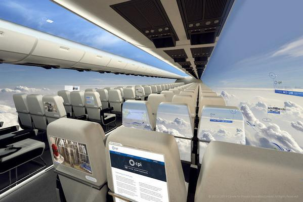 10年以内に空を飛ぶ可能性がある「窓のない」新型飛行機がスゴい。窓に取って代わるのはパノラマビューが見える有機ELスクリーン。機体外部に設置されたカメラの映像を映す。未来的だぁ。buzzfeed.com/richardhjames/… pic.twitter.com/xa0llURplg