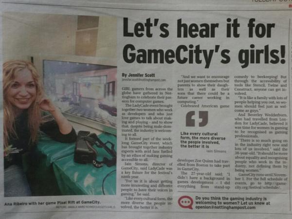 "'@_LadyCADE is in the ""Nottingham Post""! I can confirm we had a few more than 2 developers present, though!' http://t.co/3cNZ7tD8vQ"