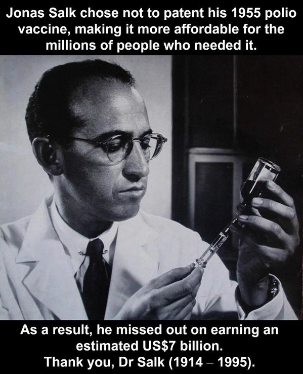 Thank you Jonas Salk, born 100 years ago today, who refused to patent #polio vaccine http://t.co/LZAEunmk7y #endpolio http://t.co/p23DTCdcEP
