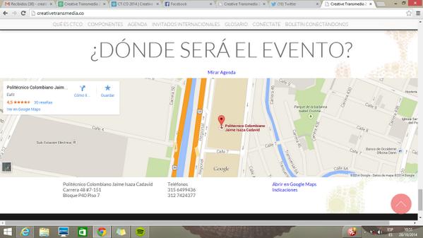 @andresalvarezca el evento será en @PolitecnicoJIC, Bloque P40 Piso 7, la ubicación está en la parte inferior de pág. http://t.co/yED9Kus8GX
