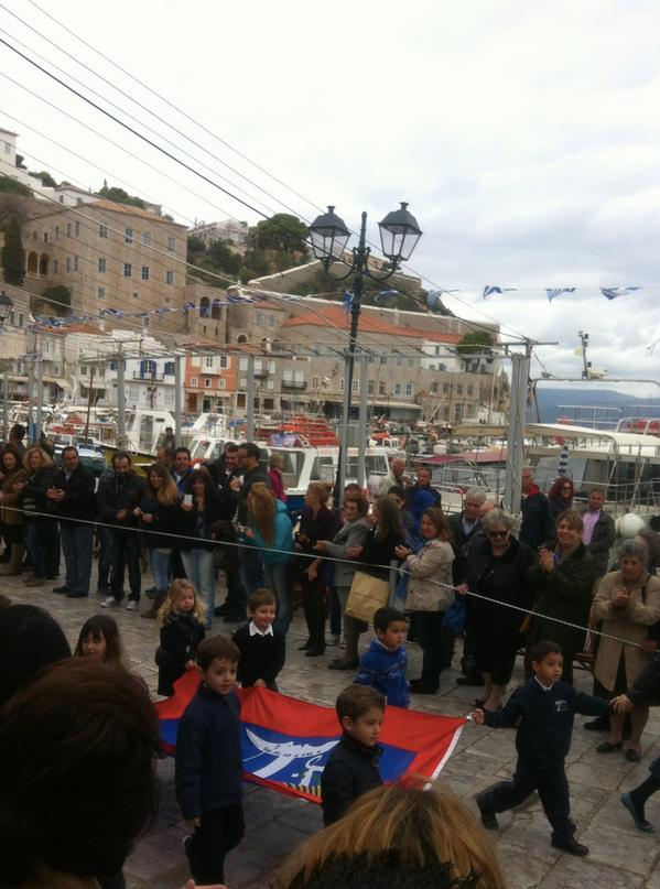 The town turns out for the Oxi Day parade in #Hydra #Greece. http://t.co/nbIV9eFLy5