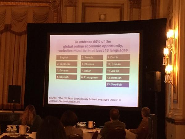 Global #ecommerce data MT @renatobeninatto: These 13 languages will get you in front of 90% of consumers. #TAUSac14 http://t.co/1C59NEacXP