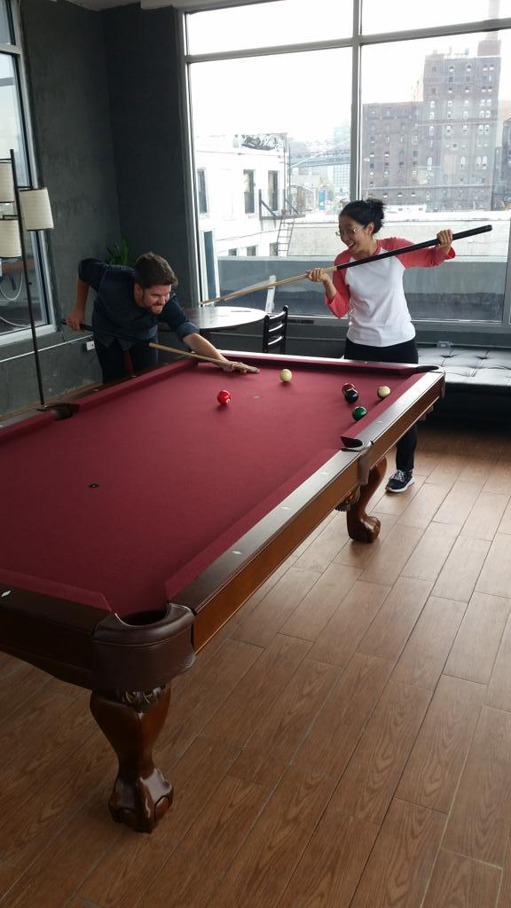 Shooting some pool with our new friends from @H1Studios. Is Elisa doing it right? http://t.co/9cSUhvw8RG