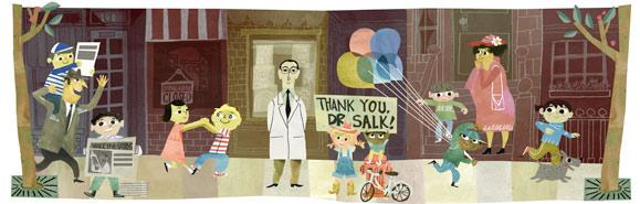 Today's @GoogleDoodles celebrates Dr. Salk, who discovered & developed the 1st successful inactivated polio vaccine. http://t.co/KQ3BR1u9uz