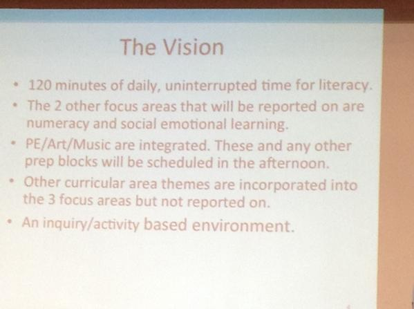 The Vision:PRSSD supported schools to restructure their day to include 120 minutes/day of literacy #summit6 #irecpd http://t.co/ChhAsQwM0y