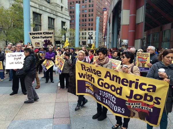 "Janitors and working families from @SEIULocal1 are out to #RaiseAmerica with good jobs, bc we're ""stronger together!"" http://t.co/pjVd9J7cgH"