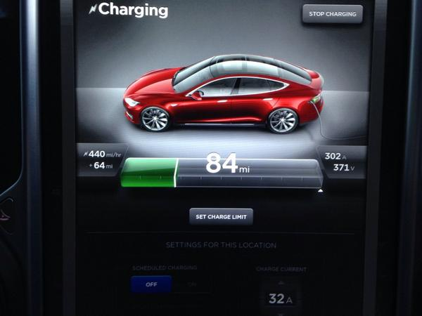 Charging the Model S at a rate if 440miles of range per hour. God bless the @TeslaMotors Supercharger! http://t.co/YKa4Iw5TWa