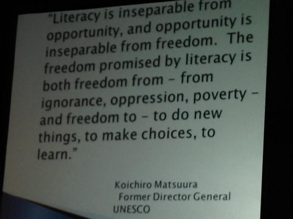 "@patjohnson: Great quote-- ""Literacy is inseparable from opportunity...""  #summit6 #irecpd #cpchat http://t.co/1agm3SUZMZ"
