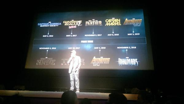 "Here's the full @Marvel film line-up announced at the #MarvelEvent!! ""RT @elmayimbe: The entire phase 3 slate! http://t.co/y9qvcSSwGV"""