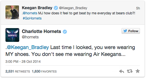 You come at MJ on Twitter, you get burned. Keegan Bradley learns the hard way: http://t.co/K7DG5Jlooe http://t.co/5ElYJoo1Mu