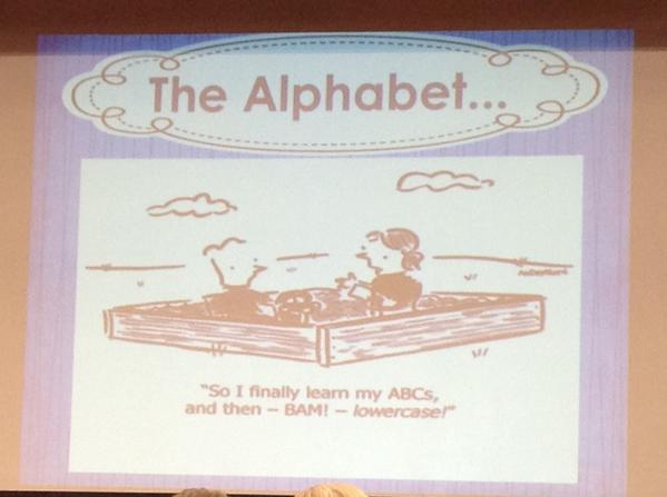 #kinderchat Humour... BAM! Lower case! #summit6 #irecpd http://t.co/1h5aQVPAgk