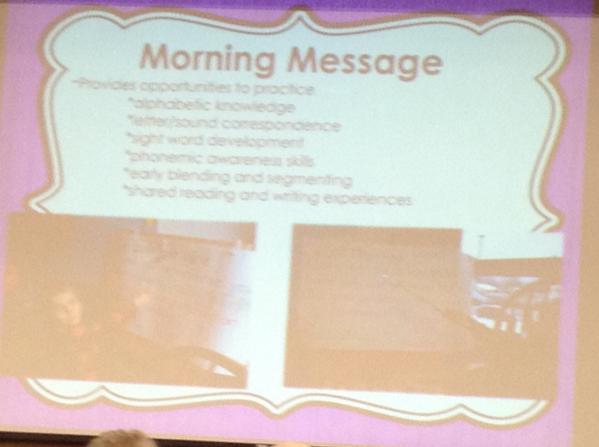 Don't stop doing the morning message!---provides so many opportunities for literacy!  #summit6 #irecpd #kinderchat http://t.co/OldvqmWYNw