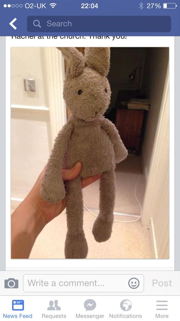 Missing Bunny alert!!! Lost in Hampton Hill today. Seriously needs to be found or no sleep will be had by anyone!! http://t.co/BBSL9I7k76