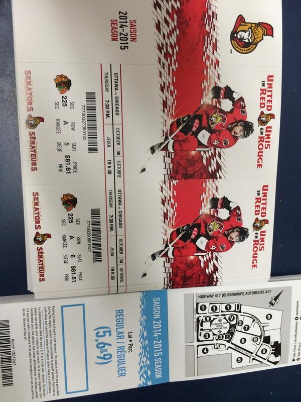 FOLLOW US AND RT to #win 2 tickets to #Sens #Blackhawks thurs night. Draw@6pm wed #GoSensGo #UnitedInRed #NHL #Ottawa http://t.co/JpbvzT0vrI
