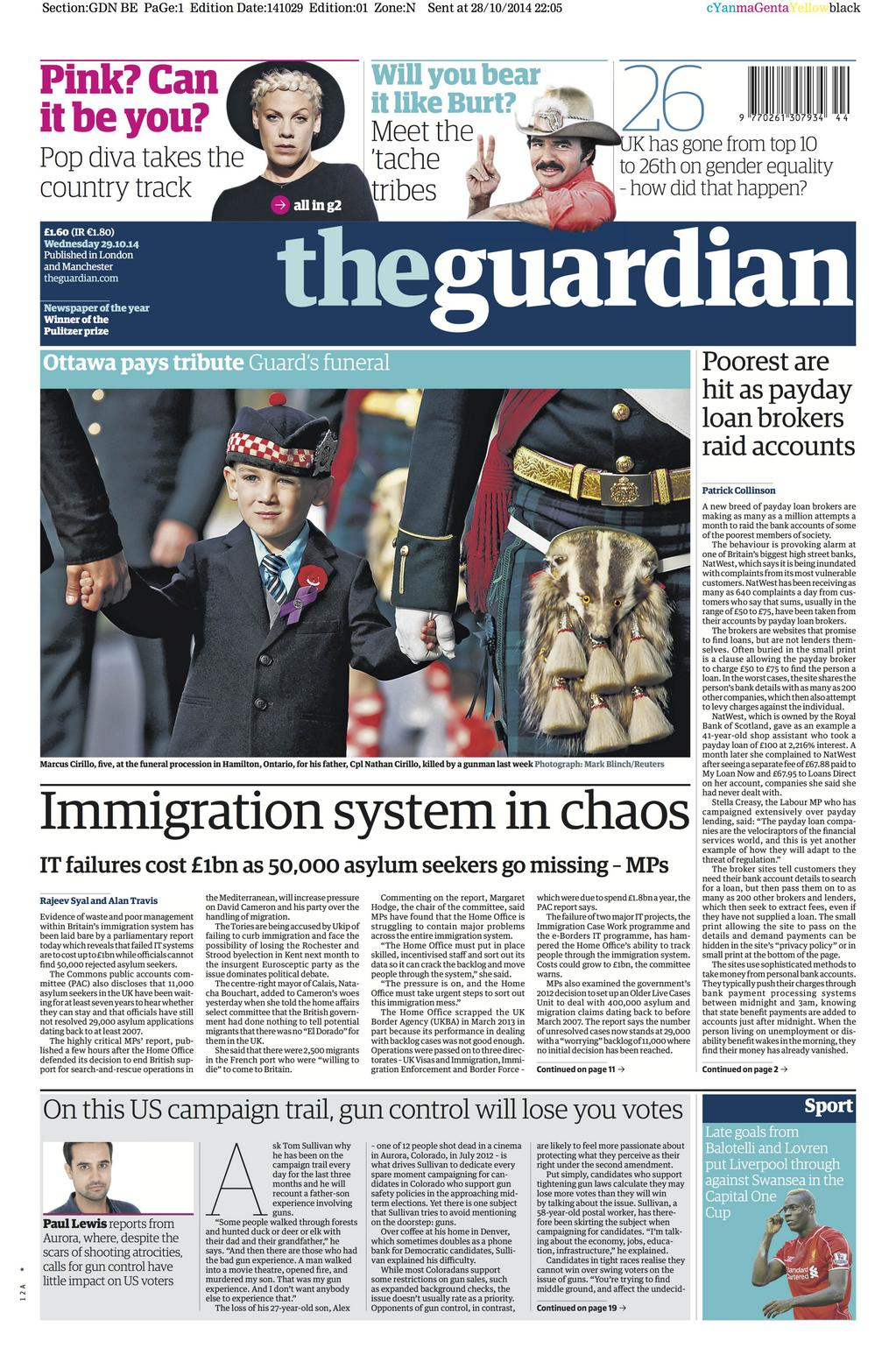 "The Guardian on Twitter: ""Guardian front page, Wednesday ..."