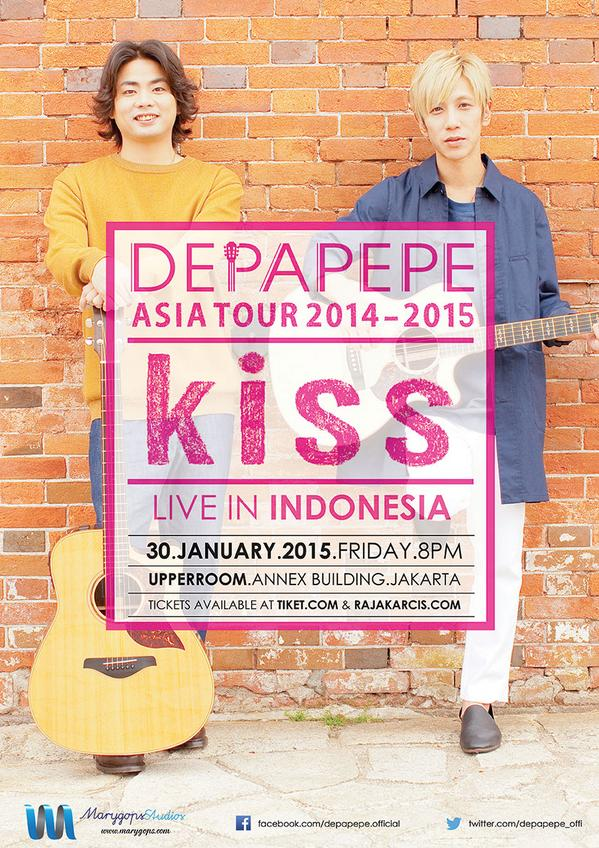 DEPAPEPE is coming back to Indonesia! 'KISS LIVE IN INDONESIA', 30 January 2015 at Upperrom Annex Building, Jakarta. http://t.co/INu5tWi1vK