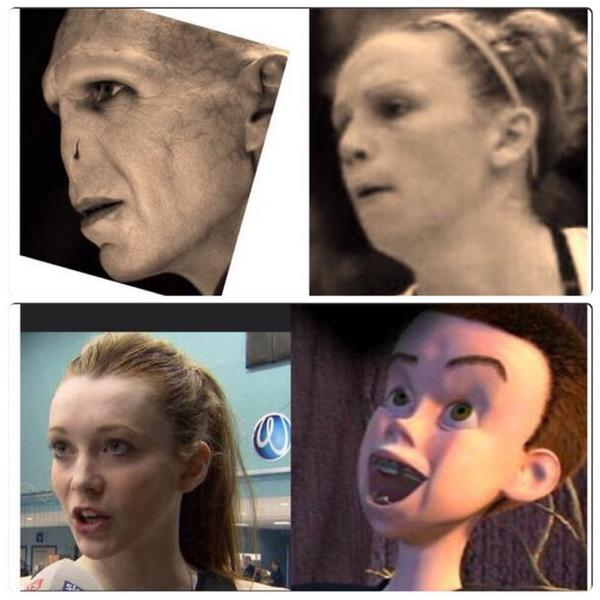 Not my artwork,but I had to share the battle off between @Helenhousby1 & @Jarten #Lookalikes These girls got jokes!