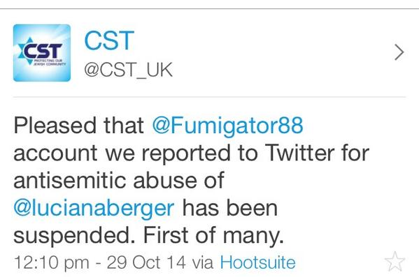@CST_UK < Well done for getting > @Fumigator88 < Taken down. @lucianaberger http://t.co/I1aoAWPvJd