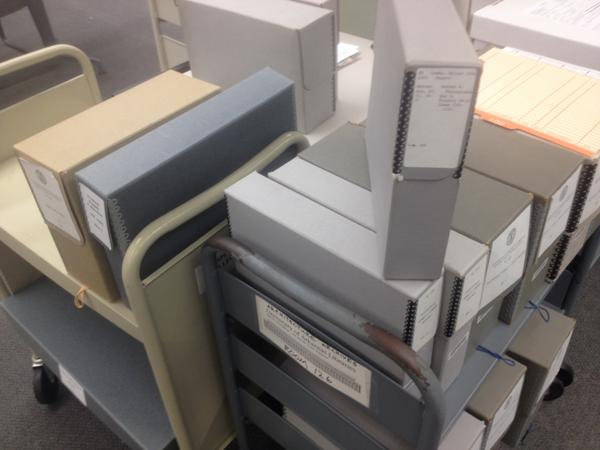 Our #UARK archivists are ready for #AskAnArchivist Day tomorrow -documents and photo boxes stacked and waiting! http://t.co/9bvFU2DUC6