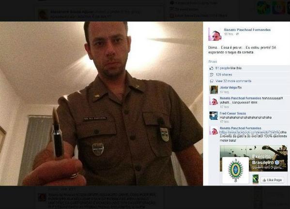 Ex-tenente publica foto com suposta bala de fuzil e ameaça Dilma: 'É pra vc' http://t.co/YfinFICWz7 #G1 http://t.co/6lqnbCxC96