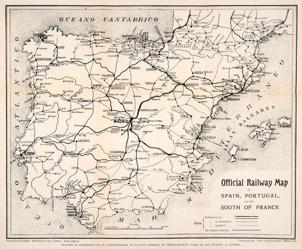 Map Of Spain Portugal And France.Brilliant Maps On Twitter Official Railway Map Of Spain Portugal
