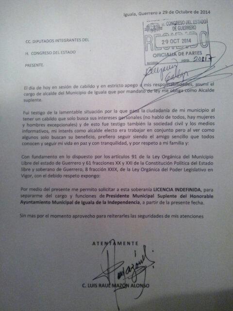 A solo unas horas de haber rendido protesta como Alcalde de Iguala. Luis Mazon pide licencia indefinida http://t.co/fbUdKbExSX
