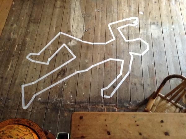 Iheni Love The Dead Body Outline Along With Killer Wood Floors Tco HBBU4LsGn2 SeeWhatIDidThere