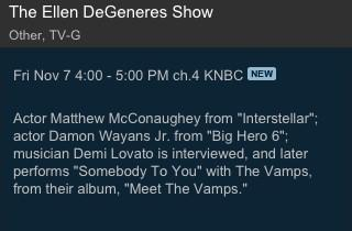 Don't forget Demi will be on Ellen next week. She's also performing STY with the Vamps. Airs Nov 7/will tape Nov 6 http://t.co/3ftSBoae7x