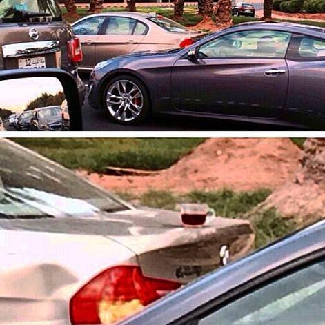 """@Alrabe3a: صورة | موظفة تنسى كوب الشاهي على دبة السيارة وتسير من بيتها وحتى دوامها دون ان يقع http://t.co/0r8ZXVUO1t"""