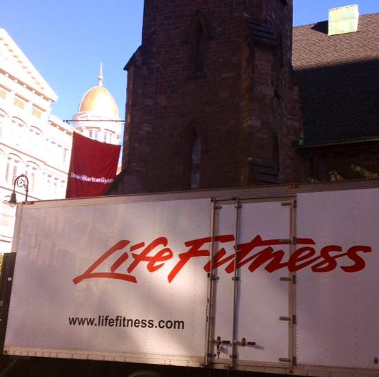 Sat 11.08 is Opening Day for The New DBGym #Chelsea! @LifeFitness trucks are at #TheLimelight now w/new equipment. http://t.co/BMaVo6pTSG