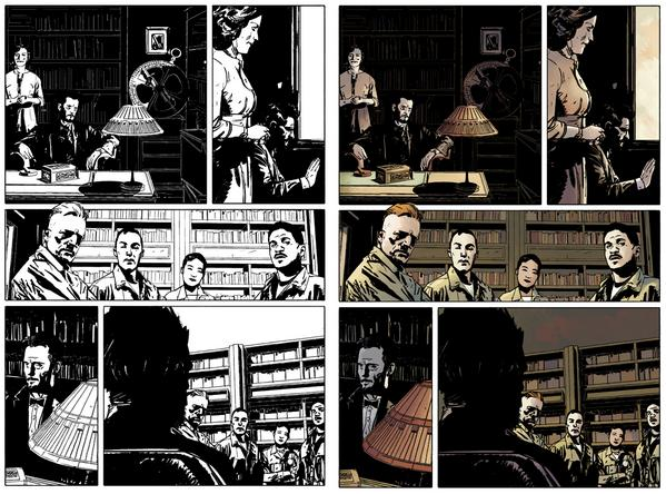 Before & after color from Hellboy and the BPRD #1 @alexmaleev @ScottAllie @superfanpr @artofmmignola http://t.co/xz9Q8vkwYQ