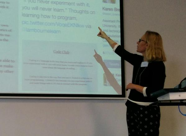 Kate Cooper @lambournelearn talks about Code Club at Clifton Hill PS for Team Create 2014 at #TL21C. #vicpln #edetech http://t.co/Qu12EBBydv