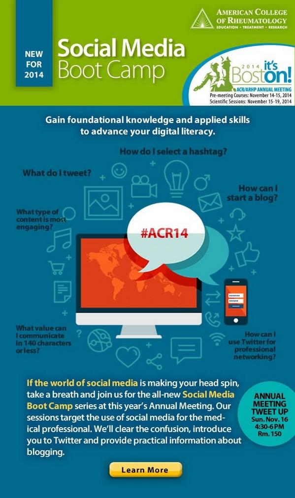Cool graphic for #ACR14 Social Media Bootcamp/Tweetup from @ACRheum email  More info: http://t.co/WBtWTwUpQJ http://t.co/R7MDmSPqrG