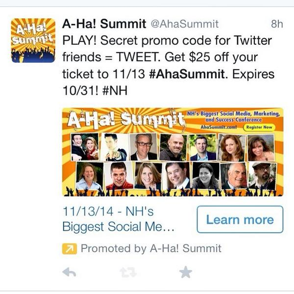 Pssst! 24-hour Twitter Promoted Post Experiment, w/ a secret code for @AhaSummit discount.  *Please Retweet!* http://t.co/U9AeAGfBP3