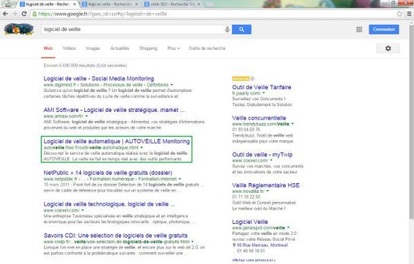 AUTOVEILLE - Logiciel de veille - Première page Google