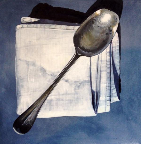 Grandma's old silver spoon 30x30cm acrylic ..... #followart http://t.co/DYjVqQdDw1