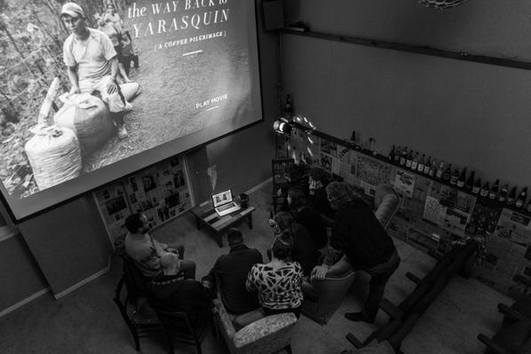 Pics of screening The way back to Yarasquin + skype with leading lady Mayra & filmmaker Sarah Gerber @CatrachaCoffee