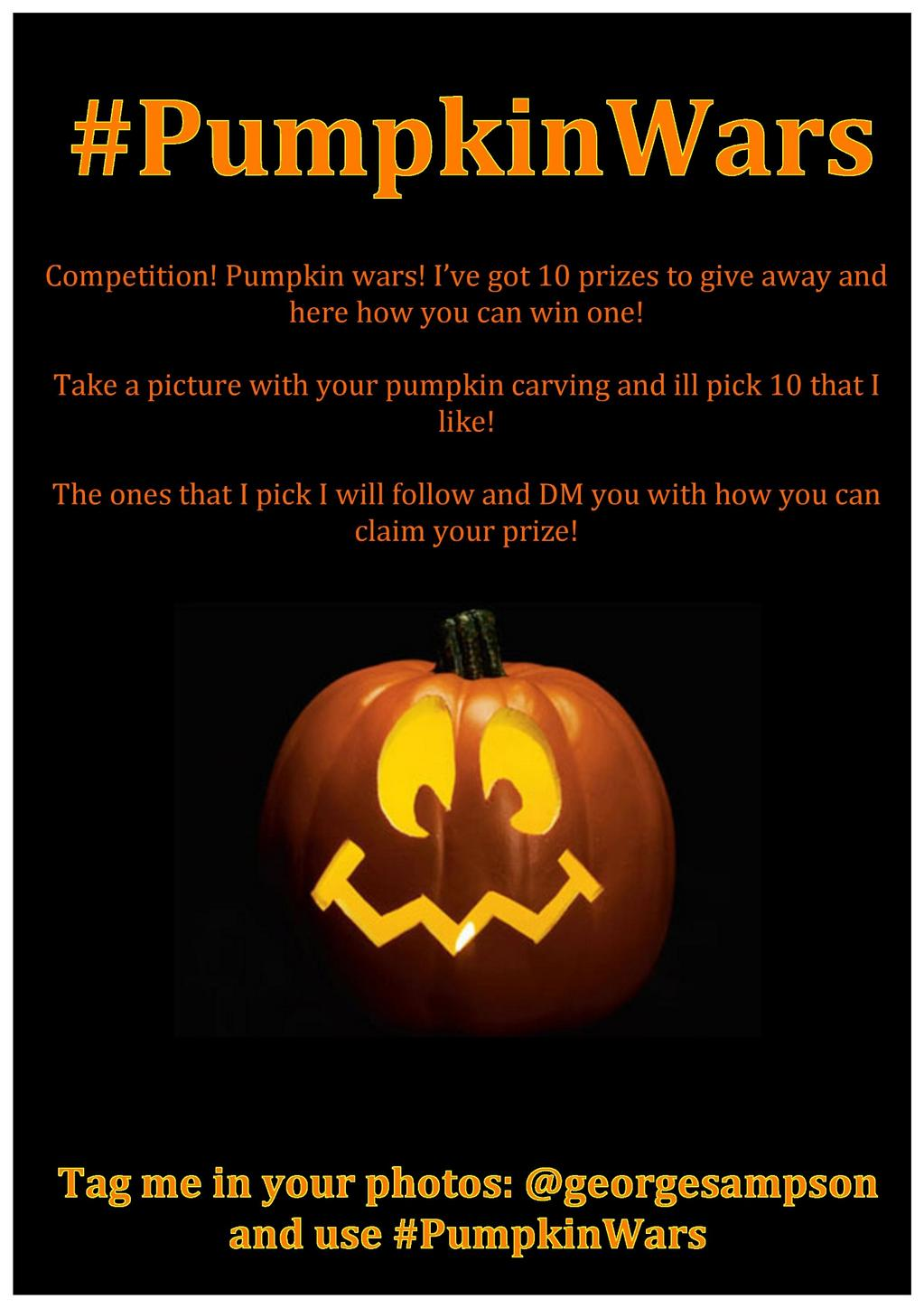 #PumpkinWars Tweet me a picture of you and your pumpkins together and ill pick my faves! GO! http://t.co/CIwXSlPgcH