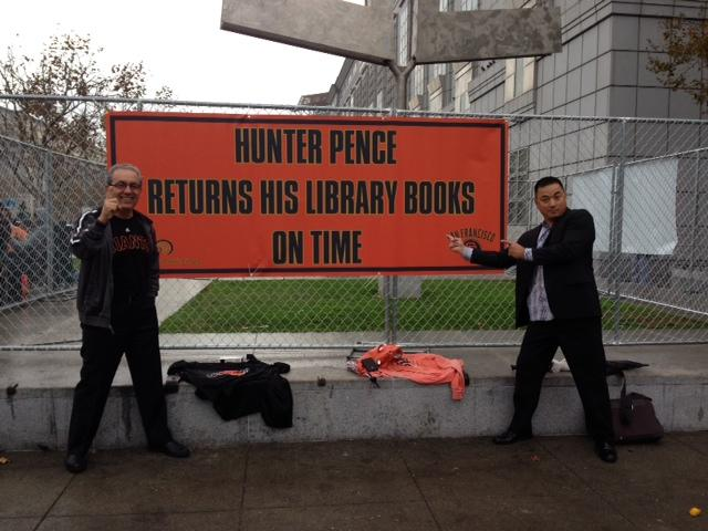 SF City Librarian & Deputy City Librarian have @sfgiants spirit ! #WorldSeries celebration is right outside our doors http://t.co/WYZjrDOzHW
