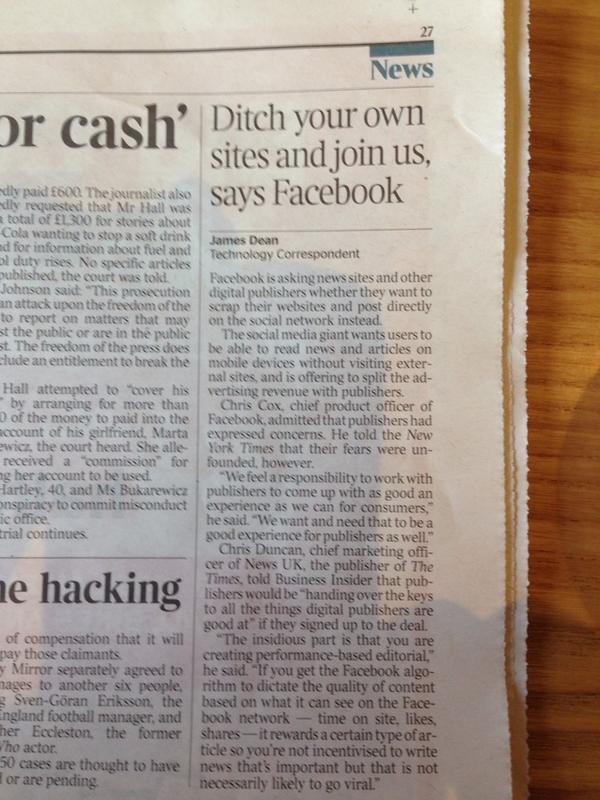 Facebook encouraging publishers to ditch their own platforms.