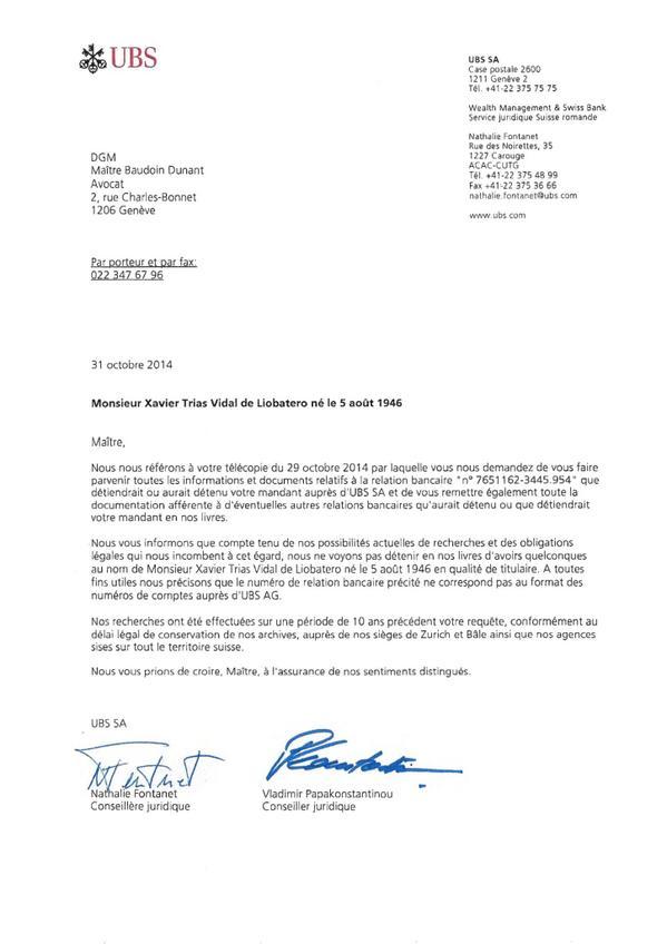 Aquí teniu la nota del banc suís @UBS on s'explica que NI TINC NI HE TINGUT MAI un compte en aquest banc http://t.co/q1Vj278rKx
