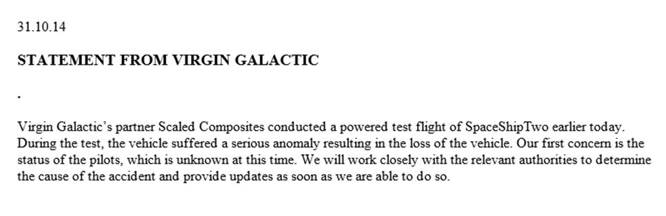 #SpaceShipTwo UPDATE: Statement from Virgin Galactic http://t.co/AJFLHsYm8L http://t.co/w5VopCq0jg