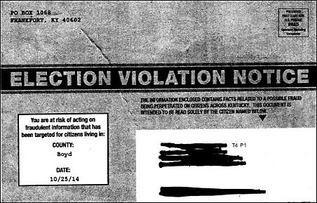 Mitch McConnell's Sleazy 'ELECTION VIOLATION NOTICE' Mailer Being Sent to Kentucky Voters: http://t.co/WbhfcWIUL3 http://t.co/DjUJgAnMEx