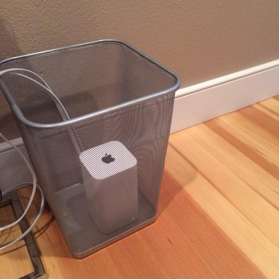Unexpected WiFi signal loss source: our house cleaner put an access point in a metal trashcan. http://t.co/cIZ1tIKmuV