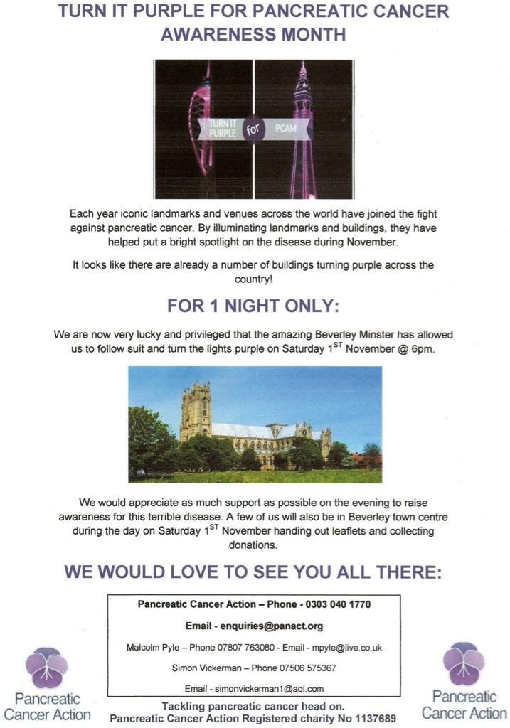 RT @pylie76: @reallorraine please retweet this, we are lighting Bev Minster Purple tonight 2 raise awareness for @OfficialPCA ta 💜 http://t…