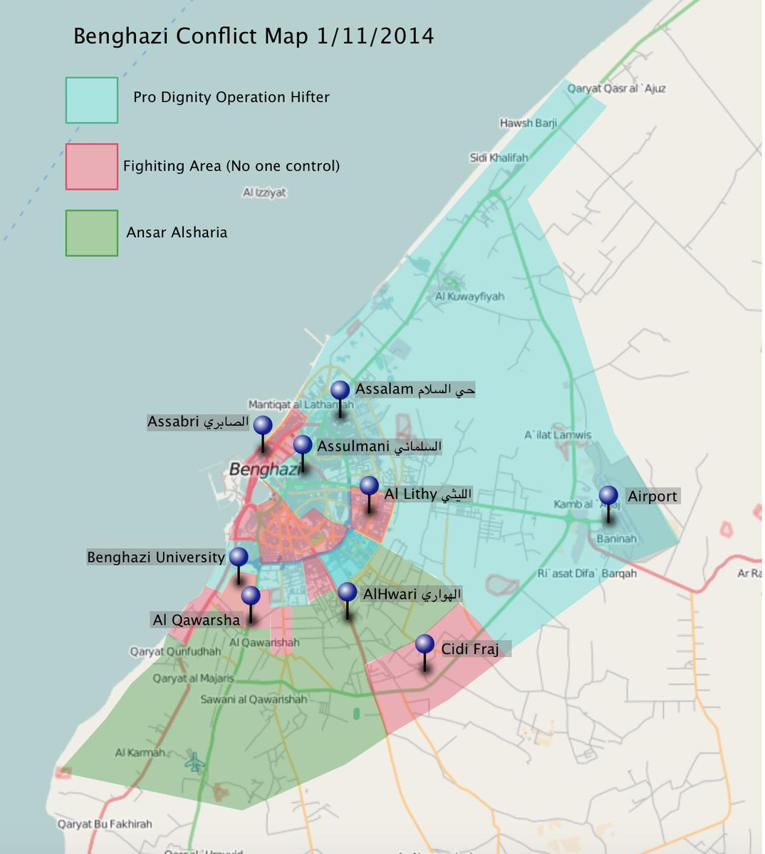 Mutaz Gedalla on Twitter Updated map 1112014 Benghazi conflict