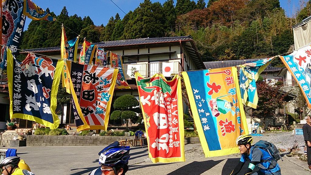 ツールド三陸名物の大漁旗! http://t.co/C6XfOhTfhd